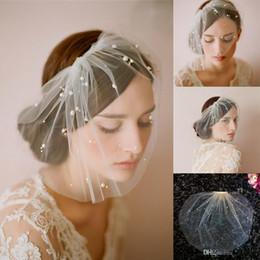 Manual blanca Tulle Birdcage Velos para las novias Perla corto nupcial velo de novia con peine 2015 Barato En Stock Accesorios