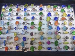 Wholesale mixed lots 100 cat eye gemstone silver p Rings