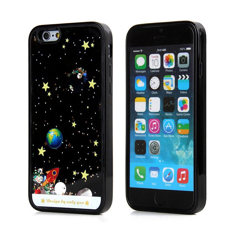 Buy Cartoon Starry Sky Space Ship Bling Glitter Dynamic Liquid Hard Clear Plastic PC Case Cover Iphone 6 6S Plus 5S 5