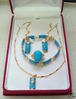 Pendiente de turquesa pendiente collar pendiente conjunto de anillo