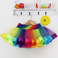 ballerina skirts fashion - Rainbow Girls Tutu Skirts Baby Ballerina Skirt Childrens Kids Petticoats Halloween Costumes Casual Candy Color Ball Gowns Skirt