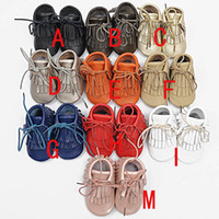 Wholesale baby moccasins tassels boot booties moccs infant girl boy lace leather shoes prewalker booties toddlers shoes