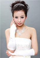 Wholesale New Fingerless Satin Wedding Bridal Long Gloves white ST