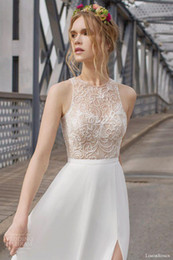 chiffon Side Slit bohemian wedding dresses Sexy Bidal Gown High Collar Beading Beach wedding dresses New