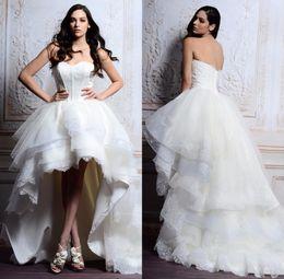 Sweetheart New Model High low Wedding Dresses Princess Style Elegant Bridal Gown Plus Size lace Wedding Dress Front Short long Back