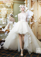 Wholesale Jewel Neck High Low Wedding Dresses With Long Sleeves Beaded top Designer bridal gown Fall Wedding Dresses