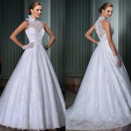 Wholesale New Model A-line High Neck Wedding Dress See Through Back Bridal Gown White Sexy Wedding Dresses