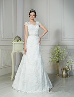 band saw - Cap Sleeve V neck Sexy Wedding Dresses See Through Back Romantic Lace WEdding Dress With Delicated Beads Band
