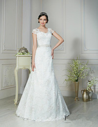 Wholesale Cap Sleeve V neck Sexy Wedding Dresses See Through Back Romantic Lace WEdding Dress With Delicated Beads Band