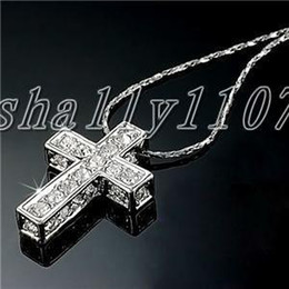 18K WHITE gold cross SWAROVSKI Crystal necklace