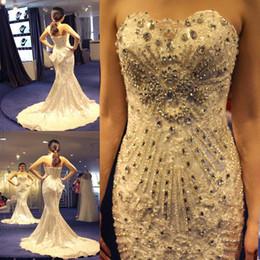 Wholesale Strapless Rhinestone Corset Wedding Dress - 2015 Luxury Crystal Wedding Dresses Mermaid Sweetheart Floor Length Rhinestone Corset Plus Size Wedding Bridal Gown