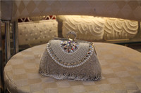 Wholesale Crystal Flower Clutch Purse - 2016 New Side Diamond Flower Crystal Evening Bag Clutch Tassel Bags Hot Styling Day Clutches Lady Wedding Purse