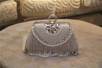 Wholesale 2016 New Side Diamond Flower Crystal Evening Bag Clutch Tassel Bags Hot Styling Day Clutches Lady Wedding Purse