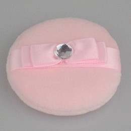 Face and Body Powder Puff Imports of cotton ribbon-type Pink Powder Puff 30 pcs  bag 60mm