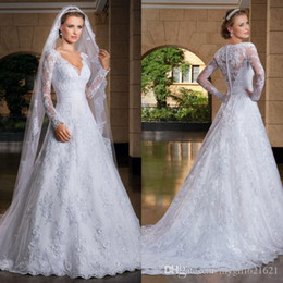 V-neck long Sleeve Lace wedding Dress Ball Gown Beaded Luxury Bridal Dresses See Through Lace Back Zipper Button