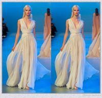 Cheap Custom Made Deep V Neck Grecian Goddess Style Elie Saab Dresses Long Formal Evening Gown 2016 Elegant Prom Party Dress