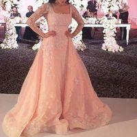beaded lace tulle fabric - 2015 Elie Saab Luxury Evening Dresses Peplum Mermaid Square Neck Long Sleeves Handmade Flowers Organza Fabric Floor Length Formal Gowns