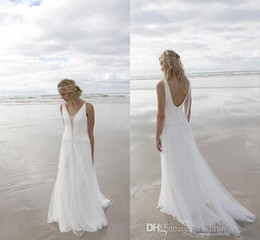 New Beach A-Line Wedding Dresses 2016 V-Neck Chiffon Purity White Lace Bridal Gown Floor Length Wedding Gown