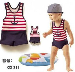 Wholesale baby boy one piece SWIMSUIT with hat baby swimwear boy swimming bathing suit boy swim
