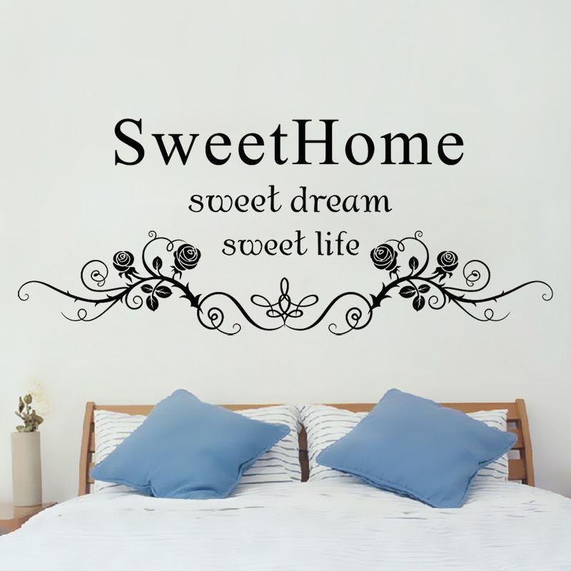 Home Sweet Home Wall Art black flowers rattan wall art mural headboard sticker decor sweet