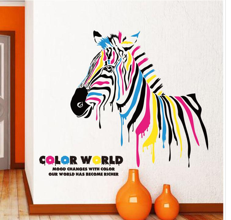 Color World Horse Wall Art Mural Poster Decor Unique Creative Bar Wall  Sticker Window Decal PVC Removable Colorful Zebra Wallpaper Decal Color  World Horse ... Part 52