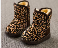 baby plush boots - DHL FREE baby girl winter boots Fashion hot children kids girls Plush Cotton Padded leopard snow boot shoes high quality warm boot size