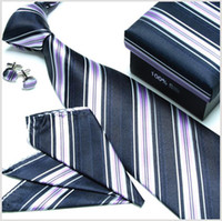 Wholesale stripes tie sets wedding ties silk tie mens tie silk cufflinks tie hanky neck ties ties