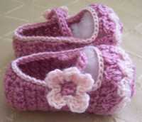 Crochet baby shoes pink with 1 flower hollow- out 0- 12M 16pai...