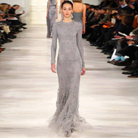 Wholesale New Custom Made New Arrival Fall Zuhair Murad Full Sleeve Runway Grey Lace Celebrity Dresses Women Floor Length Formal Evening Gowns