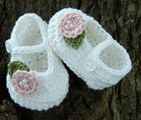 Crochet baby first walker shoes with flower & beads 0- 12...