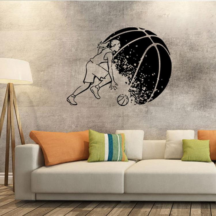 Abstract basketball player wall art mural decor boys room for Basketball mural wallpaper
