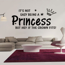 It's not Easy Being a Princess but Hey if the Crown Fits Wall Quote Decal Sticker Crown Star Wall Art Mural Decor Home Decal Wallpaper