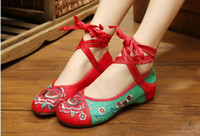 mary jane - Fashion Women s Shoes Old Peking Mary Jane Flat Heel Denim Flats with Embroidery Soft Sole Casual Shoes Plus