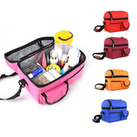 Wholesale 2 Layers Lunch Bgas Big size folding thermal insulated bag fishing lunch bag milk storage bag ice packs isothemic bag outdoor food bag