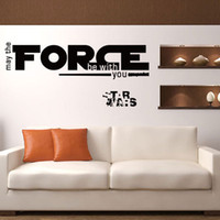 wall quotes - 2016 New Arrival Star Wars Wall Art Mural Decor Sticker May the force with you Wall Quote Decal Fashion Creative Star Wars Wall Applique