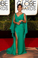 Wholesale 2016 rd Golden Globe Awards Celebrity Dresses Sexy Green Chiffon Side Split Floor Length Evening Gowns