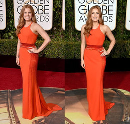 Wholesale 2016 th Golden Globe Awards Amy Adams Evening Dress Jewel Beading Sweep Train Mermaid Zipper Back Celebrity Dresses Red Carpet Dresses