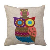 Cheap Modern Home Owl Deer Bike Beard Print Cotton Linen Decorative Sofa Cushion Covers Suede Nap Pillowcase Throw Pillow Cover For Seat Car Bed