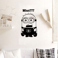 PVC bathroom sayings - Black Despicable Me Minions Wall Decal Sticker Funny Minion say What Kids Boys Girls Room Wall Applique Home Decor Art Poster Mural