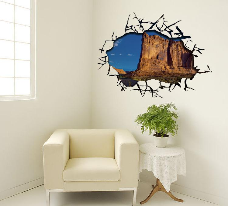 3d cracked wall decal sticker ceiling wall art mural decor for Art mural wallpaper uk