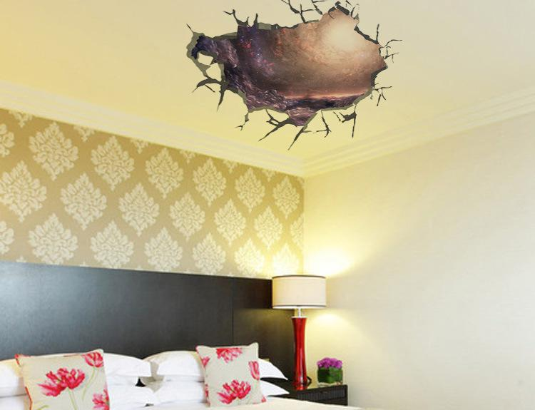 Wall Decor Stickers For Living Room 3d cracked wall decal sticker living room bedroom ceiling wall