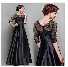 Wholesale Robe De Soiree Black Evening Gowns Half Long Sleeves Lace Beaded Peplum Formal Dresses Vestido Party Gowns