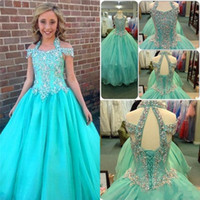 Wholesale Real Images Light Blue Pageant Flowers Dresses For Teens A Line Halter Crystal Plus Size Kids Girls Pageant Dresses Size Sale