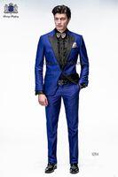 Wholesale Custom Made Groomsman Men Wedding Suits Black Peaked Lapel Royal Blue Satin Prom Suits With Pants Men Groom Tuxedos Bridegroom