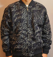 Wholesale new arrival quality PELLE PELLE men s hip hop raised embroidered jacket size M L black dark blue
