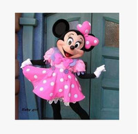 robe de mariée minnie mouse achat en gros de-Fast Free Shipping mariage Minnie Mascot Costume Pink Minnie Mouse Costumes Adult Costume Costume Party Fancy Dress