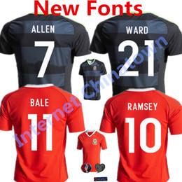 Wholesale 2016 Wales Soccer Jerseys Gareth Bale Euro Cup Football Shirts Aaron Ramsey Neil Taylor Allen Home Away camiseta de futbol Wales Kits