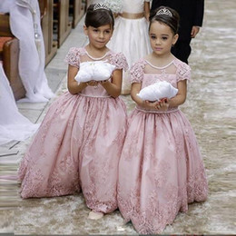Dusty Pink Modest Flower Girls Dresses For Weddings Party Cap Sleeves Lace Appliques Floor Long Ball Gown Flowergirl First Communion Dress