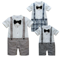 for Summer onesies - Baby rompers onesies bodysuits costumes tuxedo shirts garment boys tee shorts Tie pants outfit TZ713