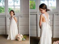 beach maxi dresses for weddings - Romantic V neck Summer Boho Flower Girls Dresses Floor Length Vintage Maxi Ivory Lace Flower Girl Dresses Suitable for Beach Wedding